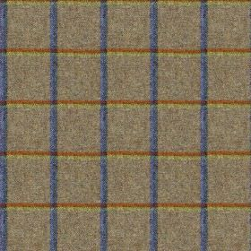 Fellside - Blencathra - Dark grey 100% wool fabric with a grid made up of copper and light green horizontal lines and Royal blue vertical li
