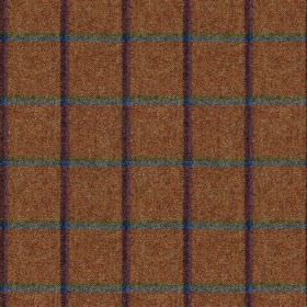 Fellside - Burnbank - A dark purple and blue-grey coloured grid running over a rich reddish brown colorued 100% wool fabric background