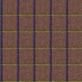 Fellside - Esk - Fabric made from dark, dusky purple coloured 100% wool, featuring a simple grid in iron grey and vivid Royal blue