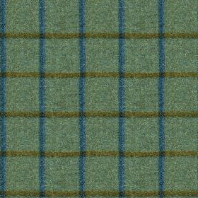 Fellside - Kentmere - Warm teal, forest green and Royal blue shades making up a 100% wool fabric featurring a thin, simple grid design