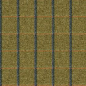 Fellside - Mardale - 100% wool fabric made in dark green-grey, woven with a simple grid made up of light red and midnight blue coloured line