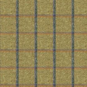 Fellside - Yewbarrow - Muted shades of dusky blue, copper, grey and creamy forest green making up a simple grid design on 100% wool fabric
