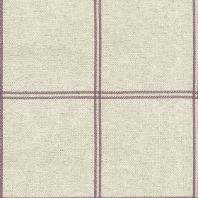 Galway Check - Heather - Cotton and linen fabric made in very pale grey-white, behind a very simple grid made up of pairs of dusky purple li
