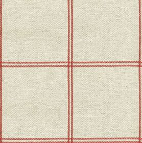 Galway Check - Raspberry - Fabric made from cotton and linen in pale grey and blood red, with pairs of thin lines making up a simple grid de