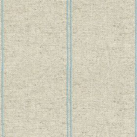 Galway Stripe - Duck Egg - Subtly speckled light grey cotton and linen blend fabric featuring pairs of thin sky blue coloured vertical strip