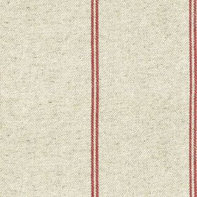 Galway Stripe - Raspberry - Burgundy and pale grey coloured cotton-linen fabric, with pairs of thin lines running down a subtly speckled bac