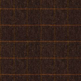 Harris Tweed Huntsman Check - Check Peatland - A rich copper coloured grid creating a very thin, simple pattern on very dark aubergine colou