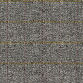 Harris Tweed Huntsman Check - Slate Grey - 100% wool fabric featuring subtle speckles in light blue-grey, woven with a simple, thin, subtle