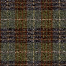 Harris Tweed Bowland Check - Forest - Traditional checked fabric made from 100% wool in dark, muted colours such as brown, navy, blue-grey a