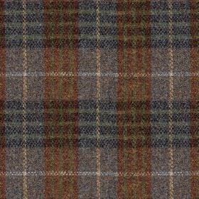 Harris Tweed Bowland Check - Heather - Blood red, off-white, cream and dark shades of blue making up a traditional check design on fabric ma