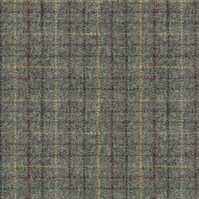 Harris Tweed Bowland Check - Slate - Checked fabric made from 100% wool, featuring a thin, simple design made in blue-grey, charcoal, dark p