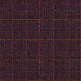 Harris Tweed - Stag Check Glen Monarch Heather - Simple, very thin checks woven into 100% wool fabric in dark shades of navy blue, grape pur