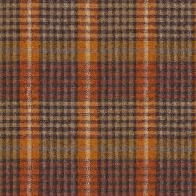 Bertie - Col 1 - Checked 100% wool fabric made with a bold design in warm burnt orange, light gold, beige, light red and charcoal colours