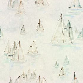 Brixham Col - Original - A whimsical sailboat design painted in pale, pastel grey and blue shades on off-white fabric made from cotton and l