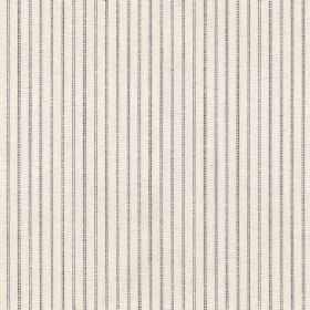 Chichester Stripe - Blue - An iron grey coloured pinstripe design running vertically down a white 100% cotton fabric background