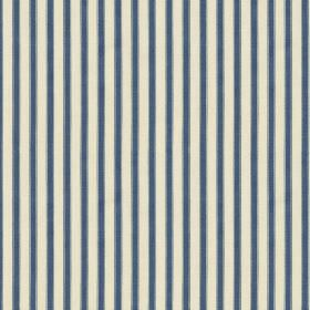 Hamble Stripe - Blue - Dark marine blue and milk white coloured 100% cotton fabric with a thin, regular, evenly spaced vertical stripe desig