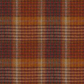 Bertie - Col 2 - Warm terracotta, gold, charcoal and off-white shades making up a bold checked design on fabric made from 100% wool