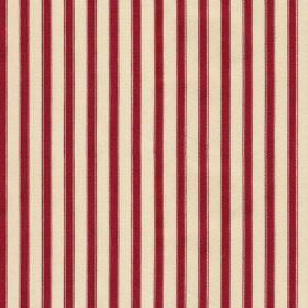 Hamble Stripe - Red - Bright scarlet coloured stripes creating a thin, evenly spaced vertical stripe design on off-white 100% cotton fabric