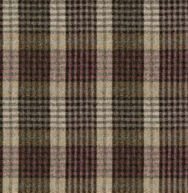 Bertie - Col 3 - Green-grey, pale red and various shades of grey making up a 100% wool fabric featuring a busy, bold checked design