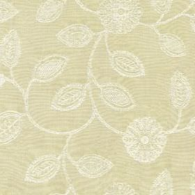 Ambleside Floral - Cream - Putty coloured 100% cotton fabric featuring an elegant, patterned, stylised flower and leaf print in bright white