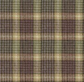 Bertie - Col 5 - A busy, bold checked design covering 100% wool fabric in very pale, dusky shades of purple, gold, green-grey & charcoal