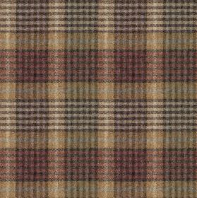 Bertie - Col 6 - Checked fabric made from 100% wool, with a bold, busy design in muted gold, off-white, light red and charcoal colours