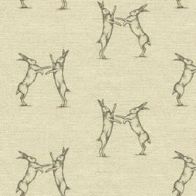 Boxing Hares Print - Charcoal - Pairs of fighting hares printed in dark grey on a neutral beige coloured linen and cotton blend fabric backg
