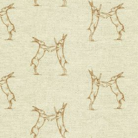 Boxing Hares Print - Gold - Linen and cotton blend fabric made in light grey, printed with pairs of fighting hares in a deep gold colour