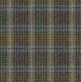 Bertie - Col 7 - Fabric made from 100% wool in muted shades of charcoal, olive green, dusky blue and midnight blue, with a checked design