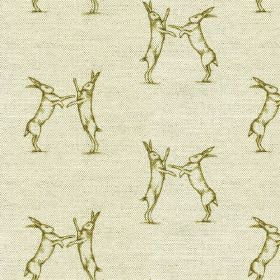 Boxing Hares Print - Green - Pale grey and olive green coloured fabric made from linen & cotton, printed with a fun design of pairs of fight