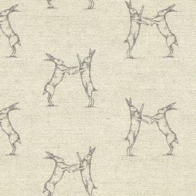 Boxing Hares Print - Lilac - Two shades of grey making up a design of pairs of fighting hares printed on fabric blended from linen and cotto