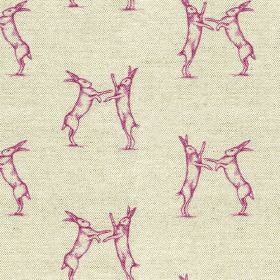 Boxing Hares Print - Pink - Bright fucshia coloured pairs of fighting hares printed on a background of stone grey coloured linen-cotton fabr