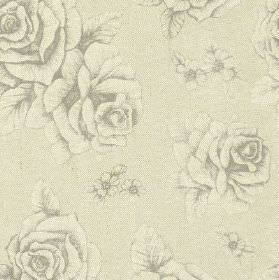 English Rose Print - Charcoal - Linen and cotton blend fabric made in light stone grey, featuring an understated yet elegant rose and floral