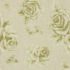 English Rose Print - Green - A subtle, elegant floral and rose pattern printed on linen and cotton blend fabric in olive green and pale grey