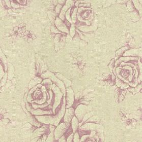 English Rose Print - Lilac - Floral and rose patterned fabric made from a blend of lavender and pale grey coloured linen and cotton
