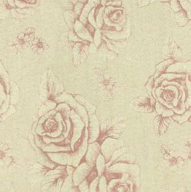 English Rose Print - Pink - Floral and rose patterns printed on fabric blended from linen and cotton in pale grey and blush pink colours