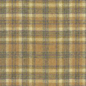 Harrogate Plaid - Caramel - Checked fabric made from 100% wool in caramel, cream and rich Royal blue colours