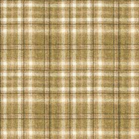 Harrogate Plaid - Natural-Green - Traditional checks woven into 100% wool fabric in white and two different light, rich shades of brown