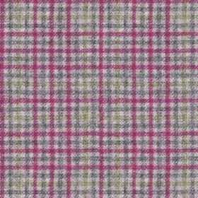 Ilkley - Fuchsia-Grey - 100% wool fabric covered with a bold, striking checked design invivid fucshia and three different shades of grey