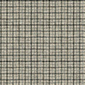 Ilkley - Grey-Black - Black and dark shades of grey making up a small, simple, stylish checked style grid design on fabric made from 100% wo
