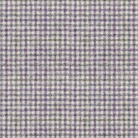 Ilkley - Heather - Fabric made from 100% wool, woven with a small, simple, stylish off-white, grey and violet coloured checked design