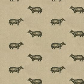 Betty - Black-Linen - Badger print fabric made from 100% linen, with a small, dark grey design printed in rows on a beige background