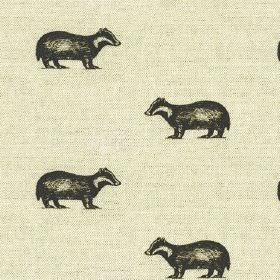 Betty - Black-Natural - Very pale grey-white coloured linen-cotton fabric featuring rows of small black badgers