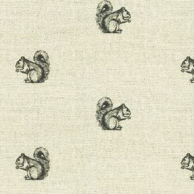Cyril - Black-Natural - Pale and dark shades of grey making up a linen-cotton fabric, featuring rows of small, cute squirrels