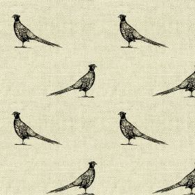 Frank - Black-Natural - Rows of small black pheasants patterning a very pale grey coloured linen and cotton blend fabric