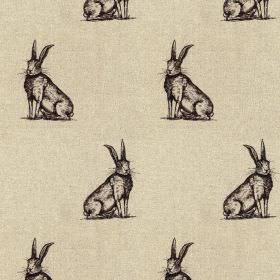 Horace - Black-Linen - 100% linen fabric made in light grey, featuring rows of sitting hares printed in very dark grey-black