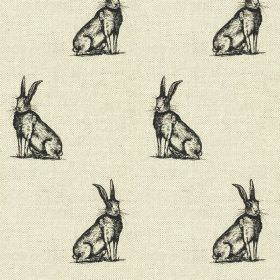 Horace - Black-Natural - Black and very pale grey coloured linen-cotton fabric, featuring a stylish, regular pattern of sitting hares