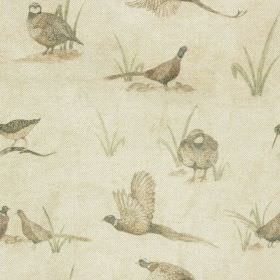 Bolton Hall - Large - Pheasant and partridge patterned fabric made from cotton and linen in light shades of grey, beige, green & putty colou