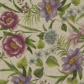 Botanical Garden - Magenta - Purple, magenta and blue flowers on beige fabric made from viscose and linen