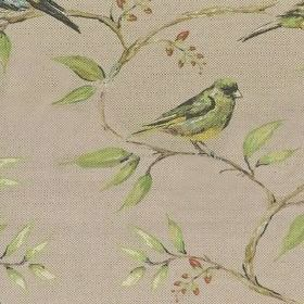 Dawn Chorus - Lilac - Cotton and linen fabric decorated with image of bird sitting on a branch